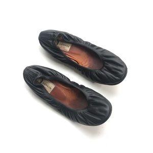 Lanvin Noir Washed Lamb Leather Ballerina Flats